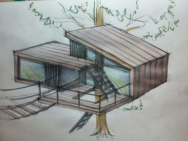 эскиз дом на дереве