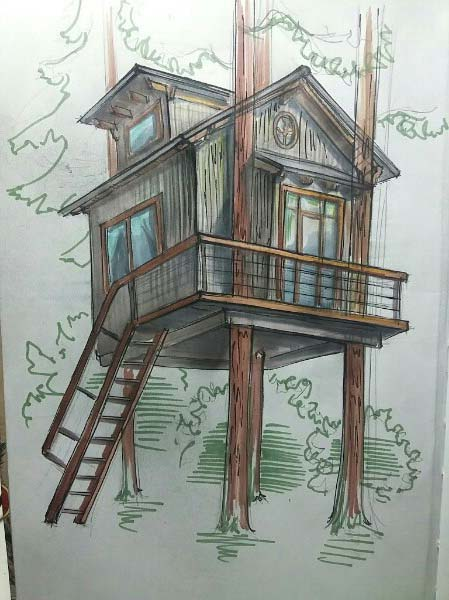эскизы дом на дереве
